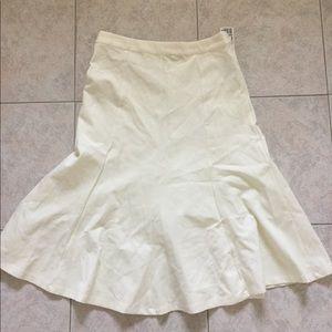NWT Cream Flared Trumpet Skirt